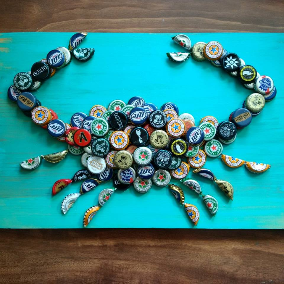 Bottle Cap Crab Sign