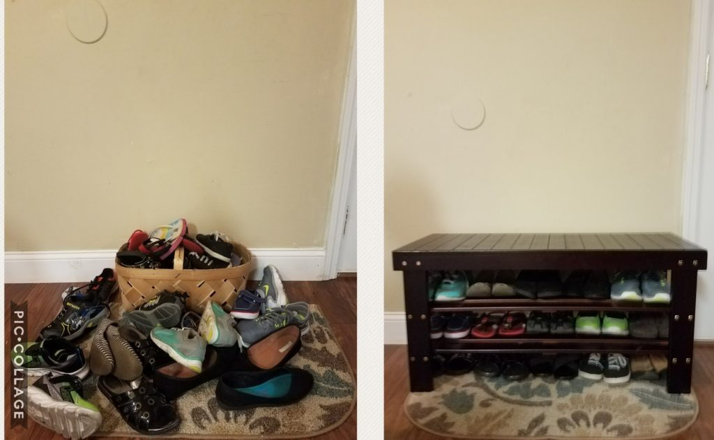 Before and After Shoe Decluttering